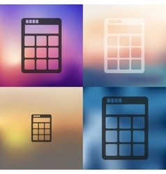 Calculator icon on blurred background vector