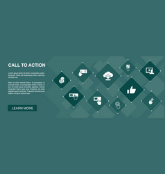 Call to action banner 10 icons concept download vector