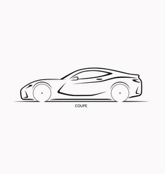 Car silhouette side view sports coupe vector