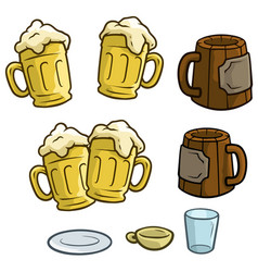 cartoon colorful different beer mugs set vector image