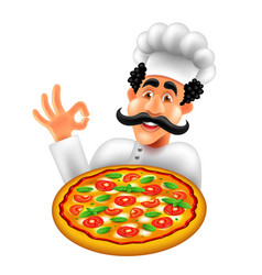 cartoon italian pizza chef isolated vector image