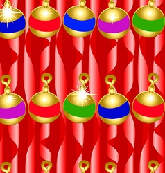 Christmas bauble and ribbons seamless pattern vector image