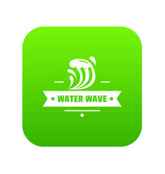 clean wave water icon green vector image