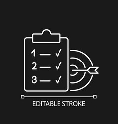 Clear goals white linear icon for dark theme vector