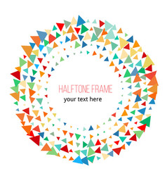 color triangle halftone frame design vector image