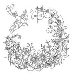 coloring flowers and birds 6 vector image