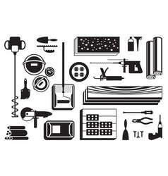 Construction power tools and materials on floor vector