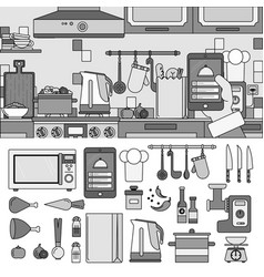 cooking at home using online app line monochrome vector image