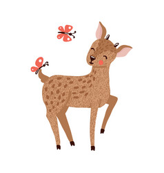cute hand drawn deer isolated on white vector image