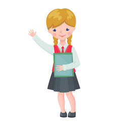 cute school girl character with books vector image