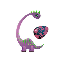 cute violet brachiosaurus dinosaur with green vector image