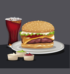 delicious burger soda cold sauces fast food eating vector image