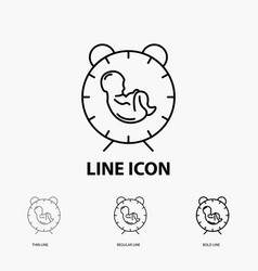 Delivery time baby birth child icon in thin vector