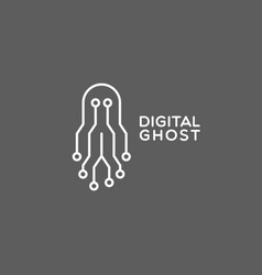 Digital ghost logo vector