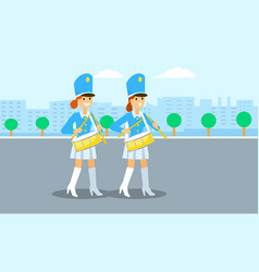 Drums girls parade banner flat style vector