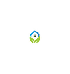 eco green leaf house environment logo vector image