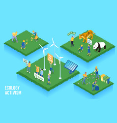 Ecolog activism isometric concept vector
