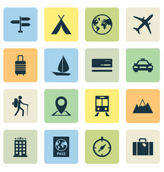 Exploration icons set collection traveler vector