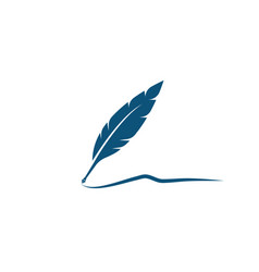 feather pen logo template vector image