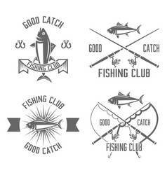 fishing club set of vintage black emblems vector image