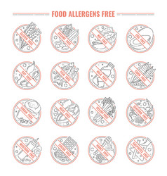 food allergen label set isolated on white vector image