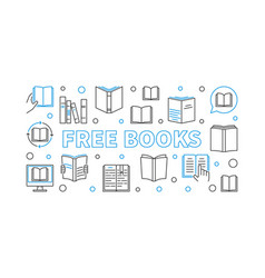 free books outline horizontal banner vector image