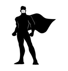 Full length silhouette male superhero vector