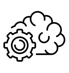 Gear ai technology icon outline style vector