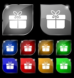Gift box icon sign Set of ten colorful buttons vector image