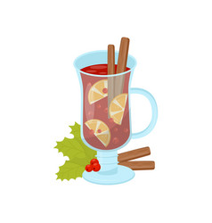 glass mug of mulled wine with cinnamon sticks and vector image