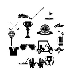 golf icons set symbols simple style vector image
