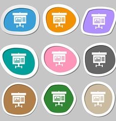 Graph icon sign Multicolored paper stickers vector image