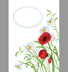 Greeting card with colorful flowers vector image