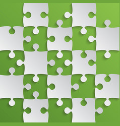 grey puzzle pieces green - jigsaw field chess vector image