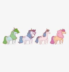 group unicorns dream mythology fantasy magic vector image
