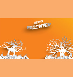 halloween background with haunted tree and vector image