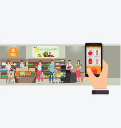 Hand holding smartphone with shopping app vector