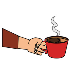 Hand human with coffee cup isolated icon vector