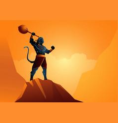 hanuman standing on rock vector image