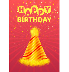happy birthday greeting card festive cone hat vector image