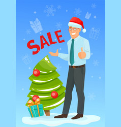 happy businessman in santa hat vector image