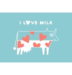 Happy cow with udder and red heart full of milk vector
