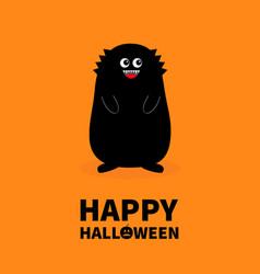 happy halloween monster black silhouette fang vector image