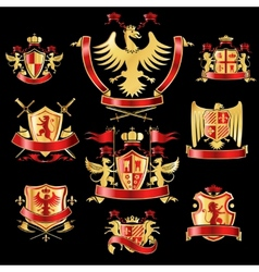 Heraldic labels gold red vector