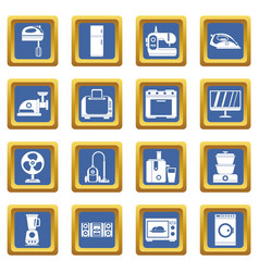 Household appliances icons set blue vector