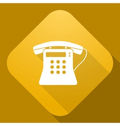 icon of Old Phone with a long shadow vector image