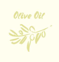 ink hand drawn olive tree branches vector image