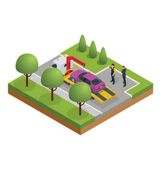 Isometric tow truck roadside assistance tow vector