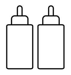 Ketchup mustard squeeze bottle icon outline line vector