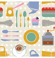 Kitchen seamless pattern vector image